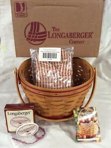 Longaberger 1999 Homestead Basket Tie On Leaflet Orchard Plaid Liners in Box New