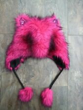 Girls Age 10 11 Years Pink Fluffy Faux Fur Kawaii Ears Monster Hat with Pom Pom