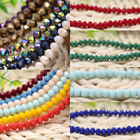 Lots Rondelle Faceted Crystal Glass Spacer Loose Beads Findings Craft 4/6/8/10MM