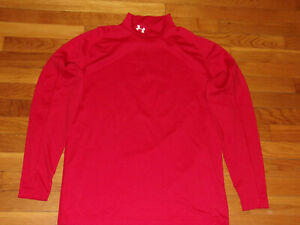 UNDER ARMOUR COLDGEAR LONG SLEEVE RED MOCK FITTED JERSEY MENS LARGE EXCELLENT