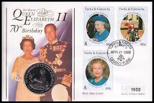 1996 Turks & Caicos Queen Elizabeth II 70th Birthday $5 Coin Mercury FDC