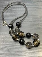 """Vintage Bohemian style Glass & Lucite  beaded statement  30"""" Necklace Black"""