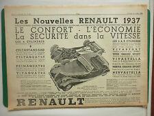 10/1936 PUB AUTOMOBILE RENAULT PRIMAQUATRE CELTAQUATRE VIVA GRAND SPORT AD