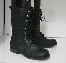 Blacks low heel Lace Rugged Military Motorcycl Riding Winter ankle boot Size 7.5