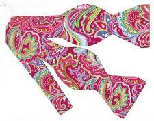 Fuchsia Paisley Bow tie / Pink, Blue, Yellow, Green Paisley / Self-tie Bow tie