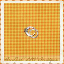 BonEful Fabric FQ Cotton Quilt Yellow Orange John Deere Small Calico Check Block