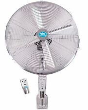 "Prem-i-Air 16"" Chrome Wall Mounted Cold Air Fan with Remote Control and Timer"