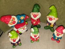 Vintage Elf Gnome Christmas Colorful Chalkware Figurines RB Japan Set of 7