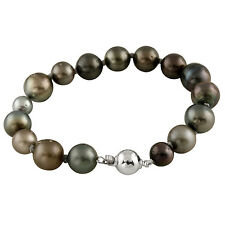 Mixed sizes Tahitian pearl bracelet with 10mm silver ball clasp OSD-156