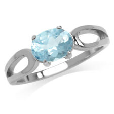 925 Sterling Silver Blue Topaz Solitaire Bezel Oval Ring 6