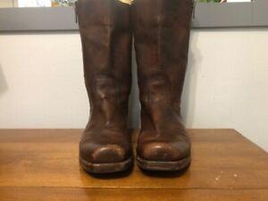 Vintage Frye Brown Leather Square Toe Boots Men's Size 12 D