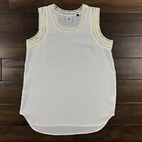 CAbi Womens Size Small Ivory Marisa Sleeveless Top Blouse Crochet Accent #5042