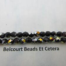 6mm Czech Opaque Black Marea Half Coated Fire Polished Glass Beads