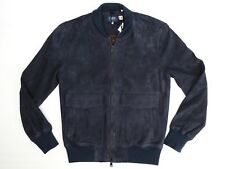 Levis Made & Crafted Mens Bomber Jacket 1 S Solid Navy Blue Goat Suede Italy LMC