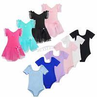 Girls Gymnastics Ballet Dress Kids Leotard Tutu Skirt Party Dance Wear Costume