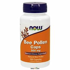 NOW Foods Bee Pollen 500mg 100 Capsules, Fresh, Free Shipping, Made in USA, SAFE