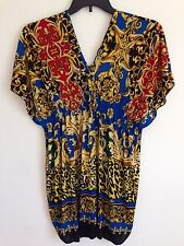NWT Womens Jessica Taylor Cocktail Mini Dress Sexy V-Neck  Blouse Top Tunic Sz M