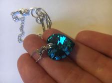 Collier Femme Pendentif Coeur en Cristal Swarovski Bleu - Bijoux des Lys
