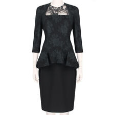 Alexander McQueen Elegant Black Lace Overlay Peplum Waist Dress IT44 UK12
