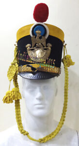 Medieval Leather Shako German Army Super Helmet with Yellow Costume