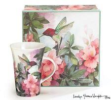 Set Of 4 Hummingbird And Azalea Porcelain Mugs Designed By Artist Carolyn Shores