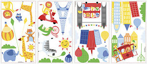 PARIS ANIMALS WALL DECALS Removable Reusable Stickers for Kids Set of 32 Decals