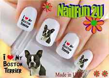 "Nail Art #115 DOG BREED ""Boston Terrier I Love"" WaterSlide Nail Decals Transfers"