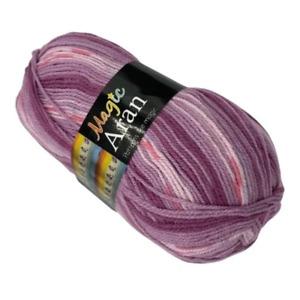 FabFinds Magic Aran Knitting Acrylic Wool Yarn for Scarf Purple and Pink 250g