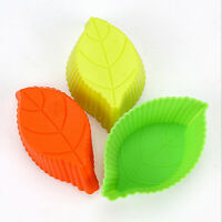 5pcs DIY Cute Leaves Baking Mold Soap Flexible Silicone Mould Chocolate Cake L