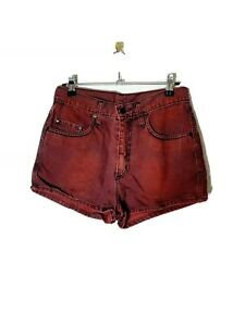 NOBODY Denim Size 25 Red Dye High Rise Shorts 100% Cotton Made in Australia