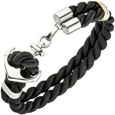 Armband Anker 2-reihig aus Nylonkordel schwarz Edelstahl Stoffarmband ca 19 cm