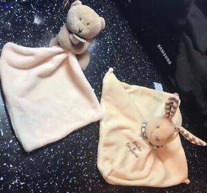 Baby Comfort Blanket Bundle Doudou & Compagnie ) Rabbit & Bear Sensory Toys VGC