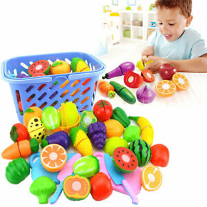 Kids Child Pretend Role Play Kitchen Fruit Vegetable Food Toy Cutting Set  Kn