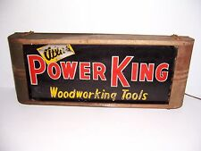 ANTIQUE VINTAGE ATLAS POWER KING WOODWORKING TOOLS METAL & GLASS LIGHTED SIGN