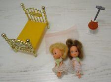 Vintage Mattel The Littles Dolls Dollhouse Bed Toilet Lot