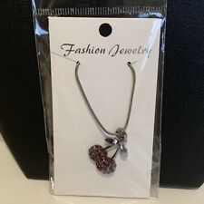 Cherry Pendant Fashion Jewelry Necklace Pewter Silver Tone Dark Pink Diamonte
