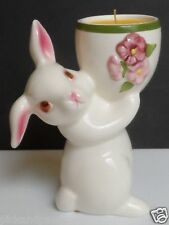Vintage 1981 Avon Weiss Brazil Ceramic Hand Painted Bunny Rabbit Candle Holder