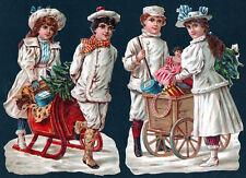 """2 Découpis """"COUPLES D""""ENFANTS, TEMPS DE NOËL"""" (pub Chocolat Besnier)"""
