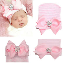 0 3 Months Newborn Baby Infant Girl Pink Bowknot Diomand Hospital Cap Beanie Hat