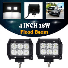 "2X 4"" 18W CREE LED WORK LIGHT BAR FLOOD MOTORCYCLE OFFROAD DRIVING FOG LAMP 12V"