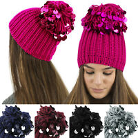 LADIES WOMENS KNITTED BEANIE HAT / BEANIE WITH OVERSIZED SEQUIN SPARKLE POM POM