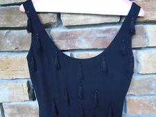 Vintage womes little black dress small or 4 shift with tassels !