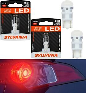 Sylvania ZEVO LED Light 194 168 2825 Red Two Bulb License Plate Replace EO Color