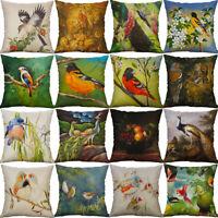 """18"""" Bird Linen Pillow Case Waist Throw Cushion Cover Sofa Home Decor"""