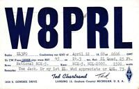 1968 VINTAGE QSL HAM RADIO CARD POSTCARD W8PRL LANSING MICH USA to New Zealand