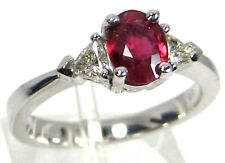 Mozambique Ruby Ring Three-Stone 14K white gold Heirloom Diamond Natural $4,364