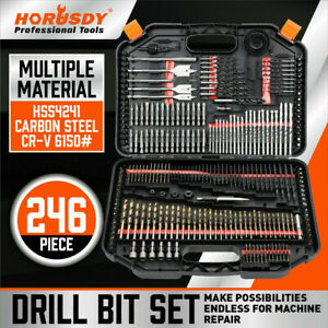 246Pc Combination Drill Bits Set Wood Hole Saw Metal Cement Screwdriver Drilling