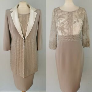 NEW Veni Infantino Size 10 12 Taupe Grey Dress with Jacket Mother of The Bride
