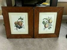 """Early 1900's Pair of Antique Oak Frames w/ Prints 19-3/4"""" by 17"""" by 3"""" wide"""