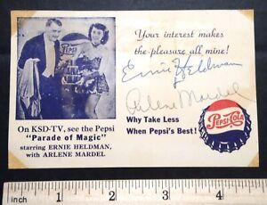 1950s KSD-TV PEPSI Parade of Magic Card SIGNED by Ernie Heldman & Arlene Mardel